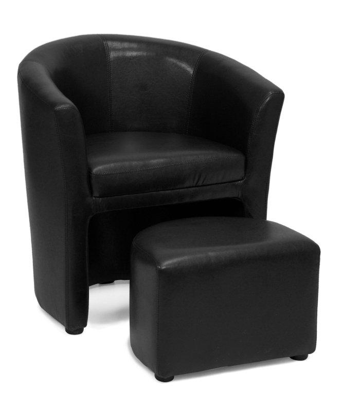 2fe9a1c59 Kreslo AVA HOLGER I, s taburetkou, čierna textilná koža | LacnýEshop
