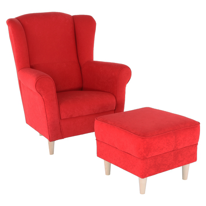 7be046743e380 Kreslo ASTRID, ušiak s taburetom, červené | LacnýEshop