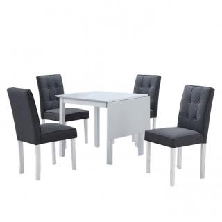 5f97fb4022c93 Jedálenský set, BJORK NEW 1+4, s rozkladacím stolom, biela/sivá empty