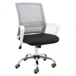 38367111576ce Kancelárska stolička, APOLO, sieťovina sivá/látka čierna/plast biely empty